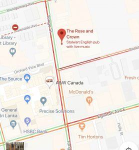 Google Map to Rose and Crown