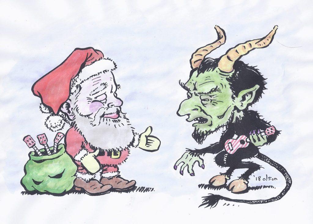 Santa Clause Meeting Krampus. Illustration by David Olson. Copyright David Olson. All rights reserved.
